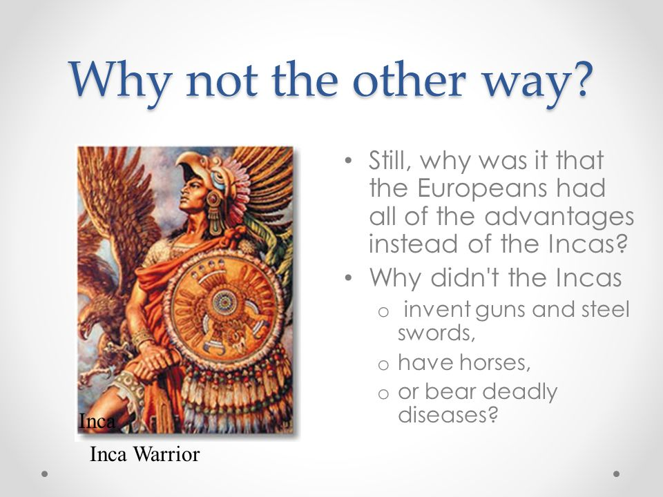 Why not the other way Still, why was it that the Europeans had all of the advantages instead of the Incas