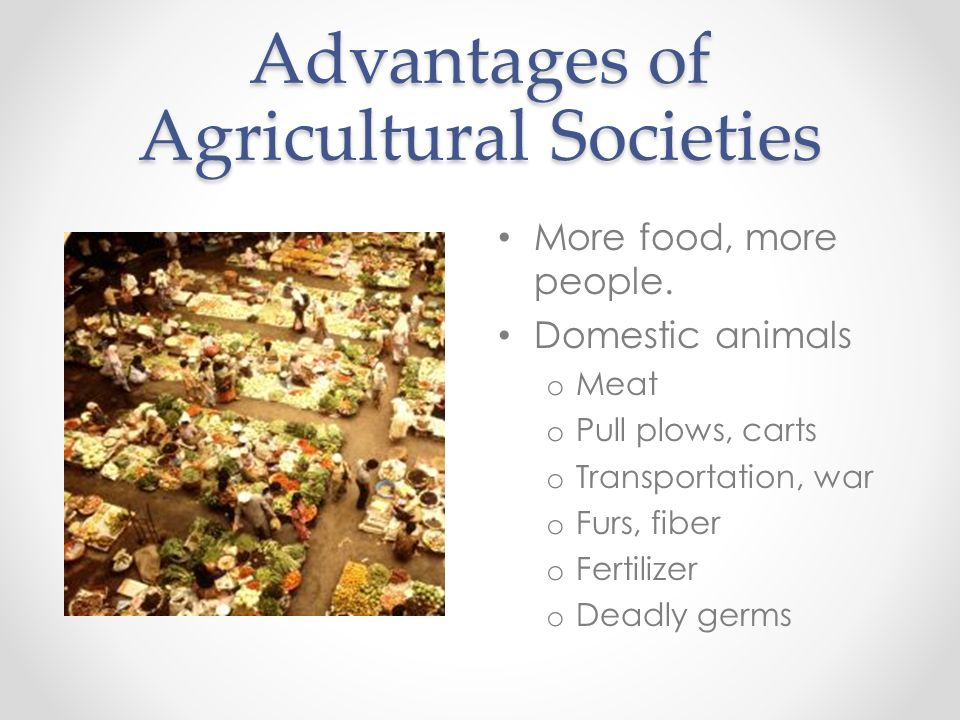 Advantages of Agricultural Societies