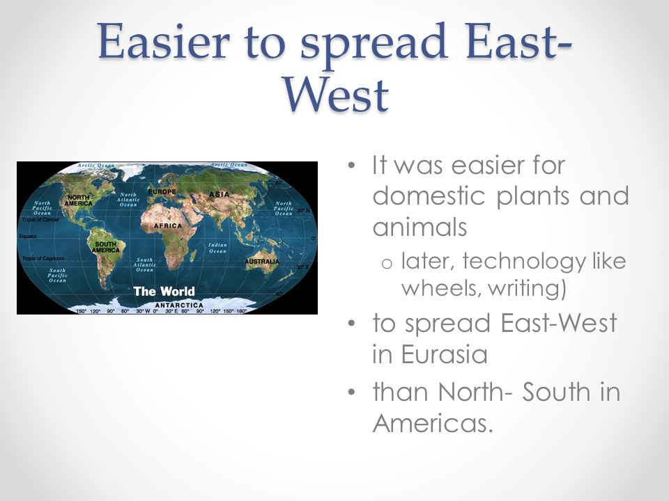 Easier to spread East-West