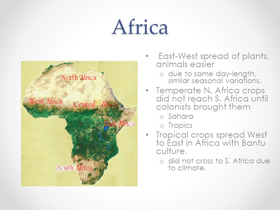 Africa East-West spread of plants, animals easier