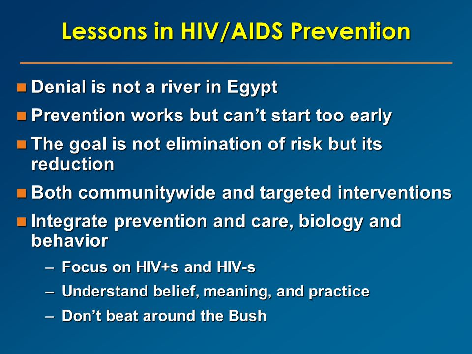 Lessons in HIV/AIDS Prevention