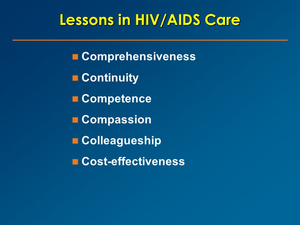 Lessons in HIV/AIDS Care