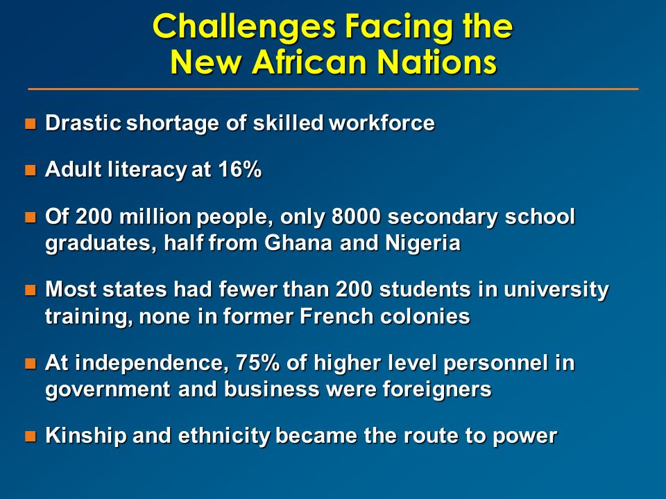 Challenges Facing the New African Nations