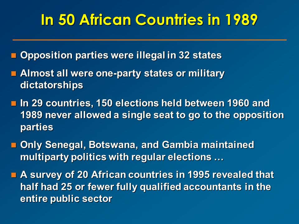 In 50 African Countries in 1989