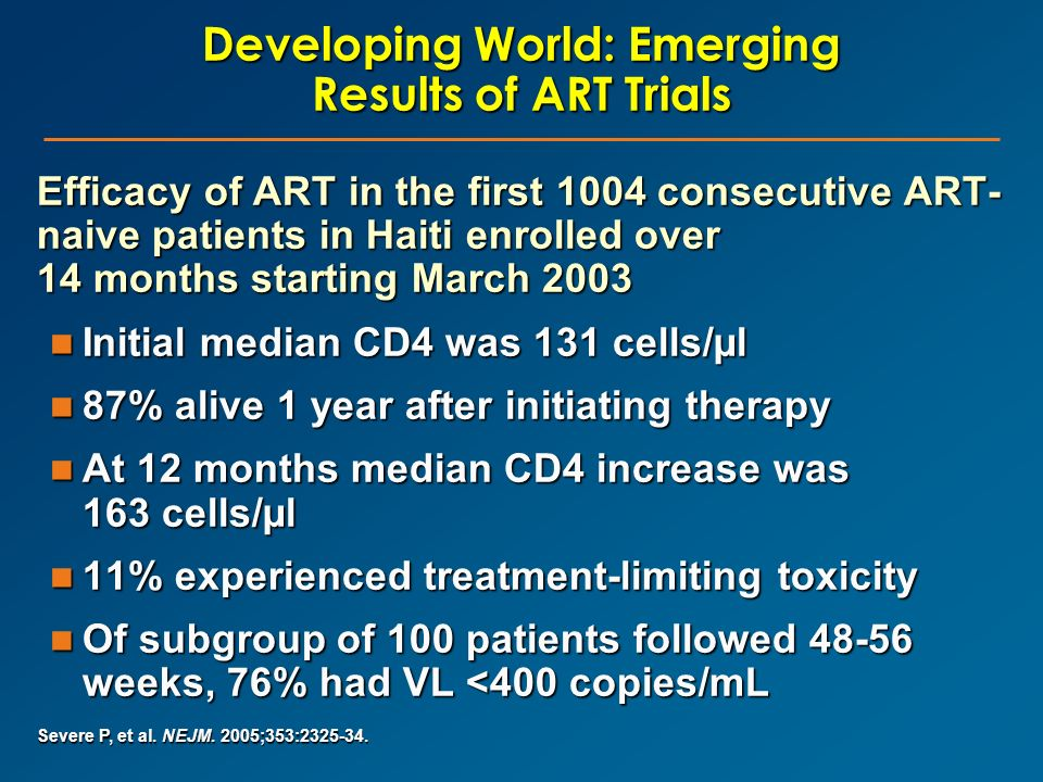 Developing World: Emerging Results of ART Trials