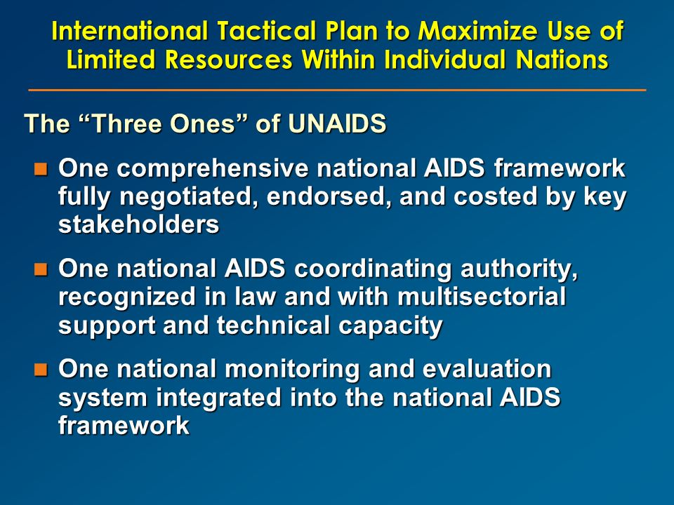 The Three Ones of UNAIDS