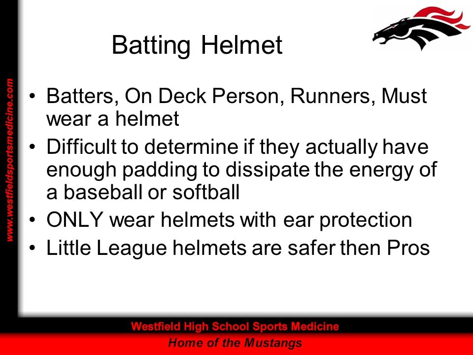 Batting Helmet Batters, On Deck Person, Runners, Must wear a helmet