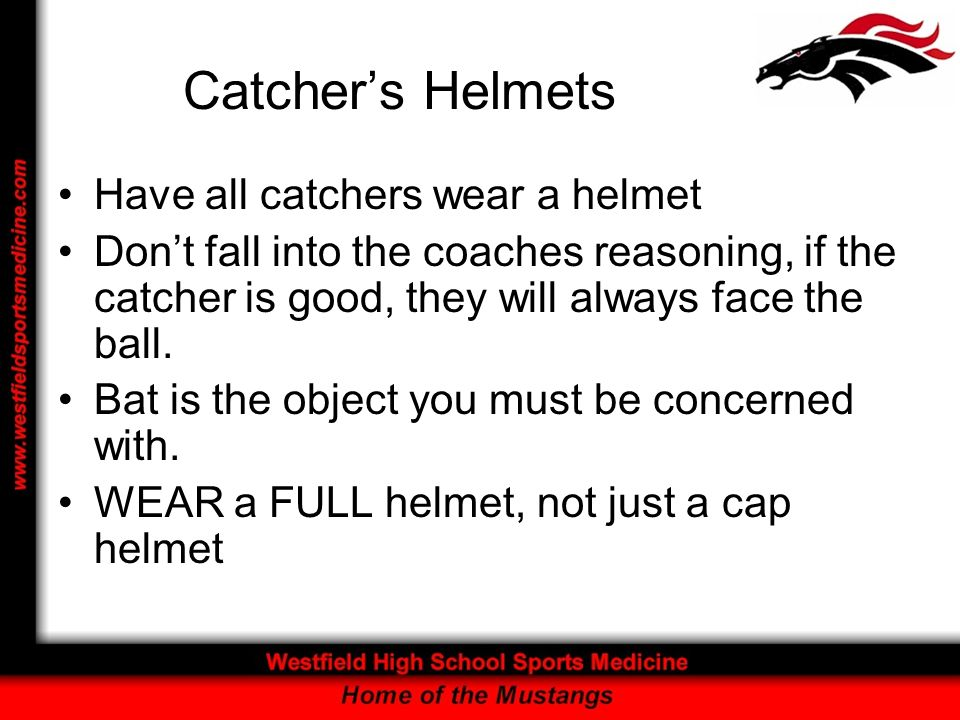 Catcher's Helmets Have all catchers wear a helmet