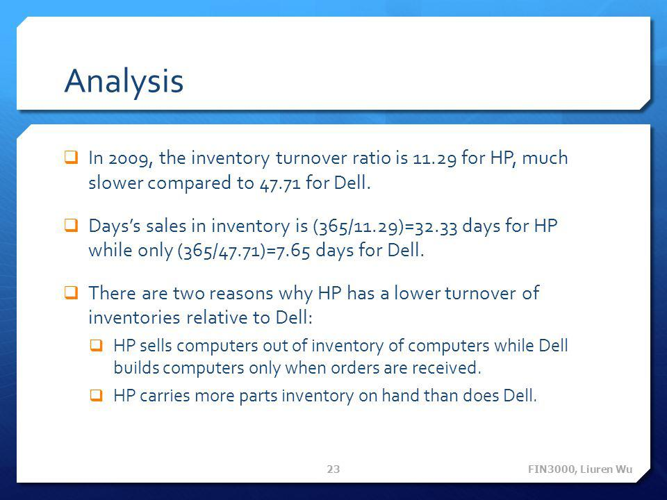 Analysis In 2009, the inventory turnover ratio is 11.29 for HP, much slower compared to 47.71 for Dell.