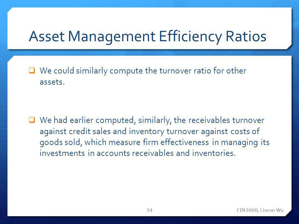 Asset Management Efficiency Ratios