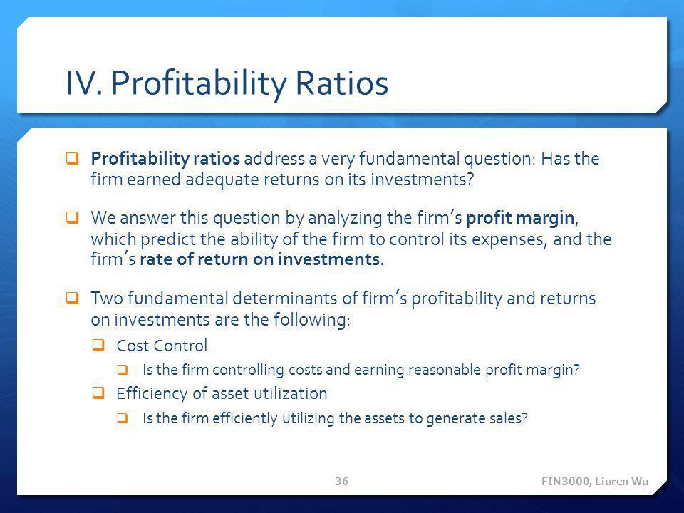 IV. Profitability Ratios