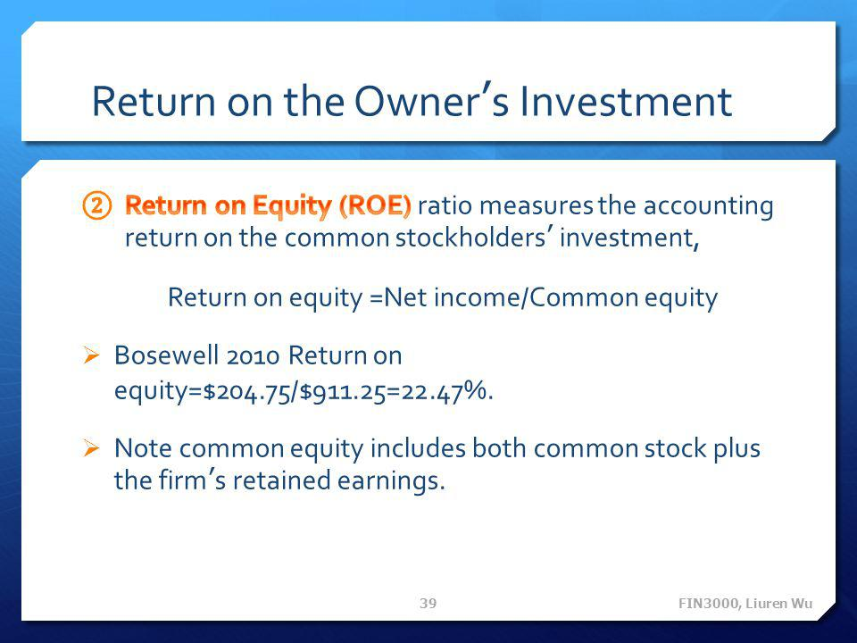 Return on the Owner's Investment