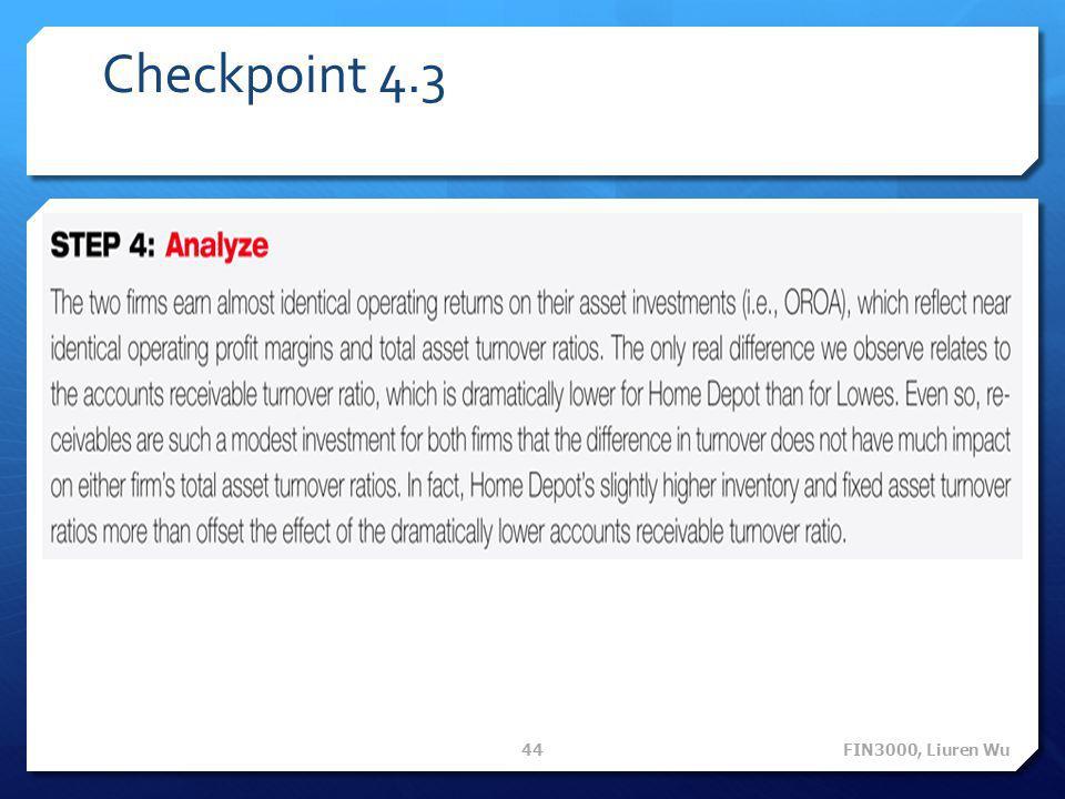 Checkpoint 4.3 FIN3000, Liuren Wu