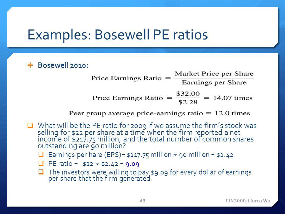 Examples: Bosewell PE ratios