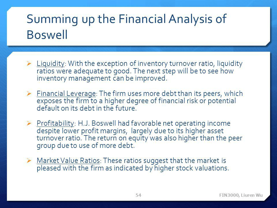 Summing up the Financial Analysis of Boswell