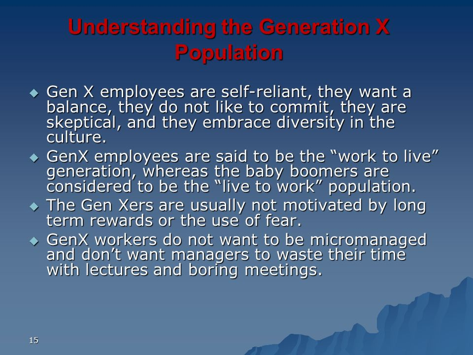 Understanding the Generation X Population