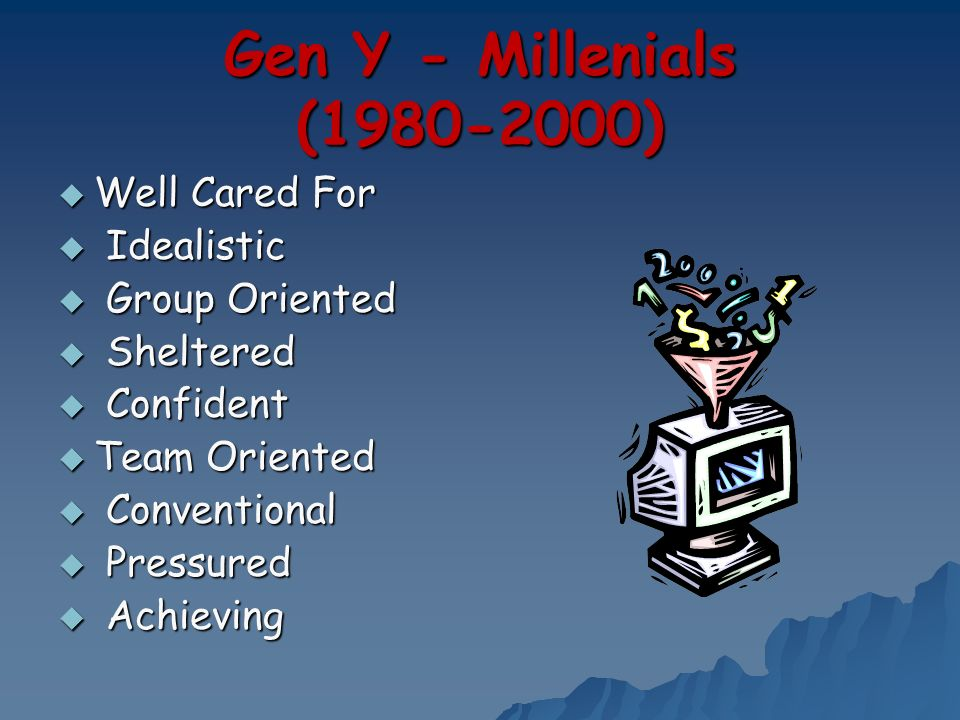 Gen Y - Millenials (1980-2000) Well Cared For Idealistic