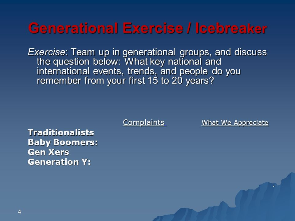 Generational Exercise / Icebreaker