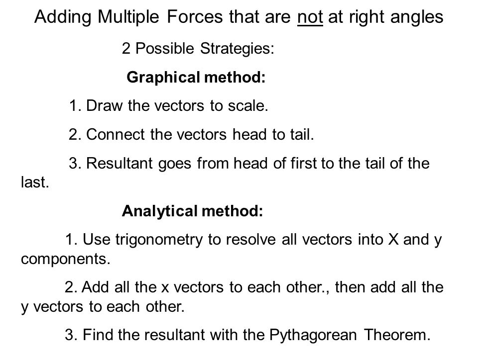 Adding Multiple Forces that are not at right angles