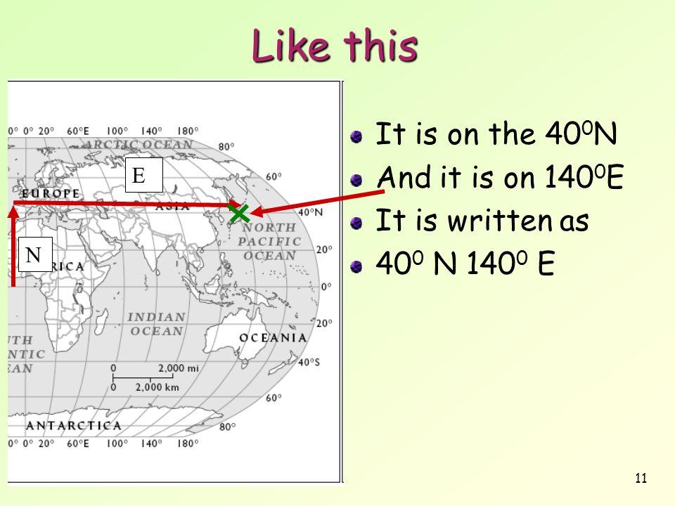 Like this It is on the 400N And it is on 1400E It is written as