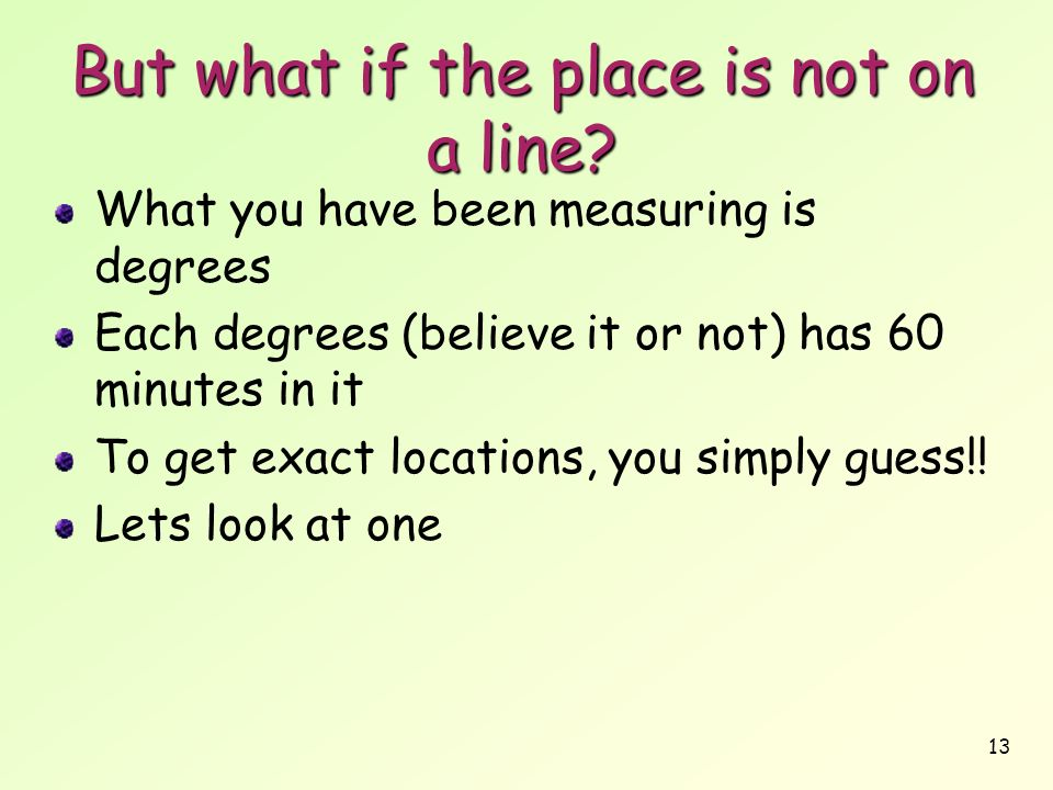 But what if the place is not on a line