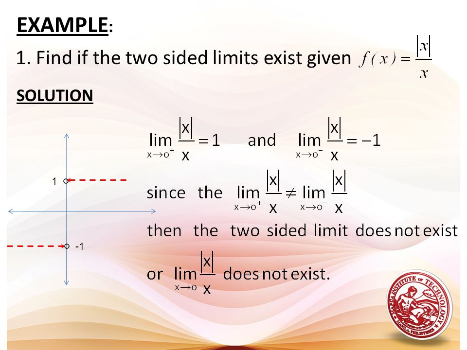 EXAMPLE: 1. Find if the two sided limits exist given SOLUTION 1 -1