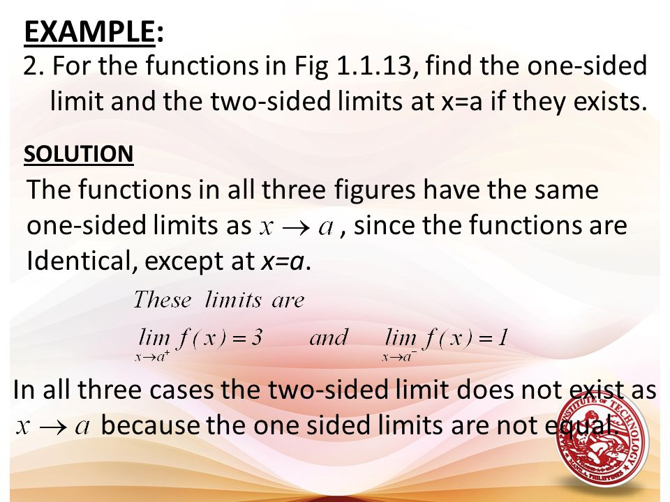 EXAMPLE: 2. For the functions in Fig 1.1.13, find the one-sided