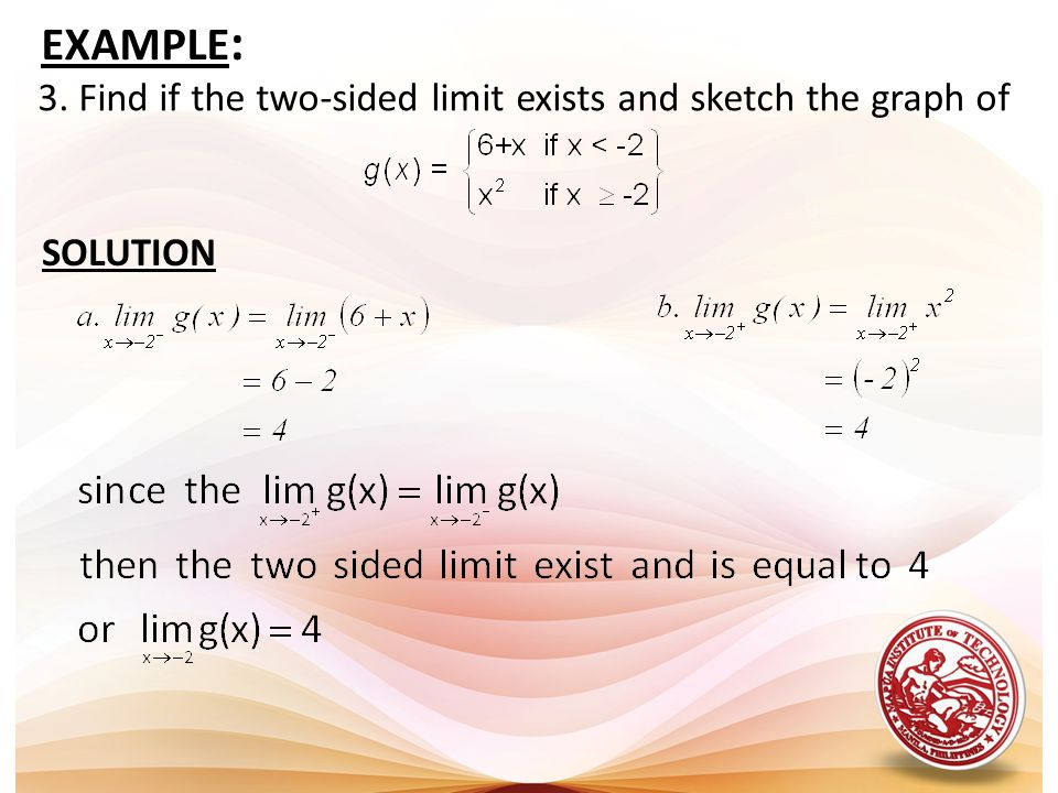 EXAMPLE: 3. Find if the two-sided limit exists and sketch the graph of