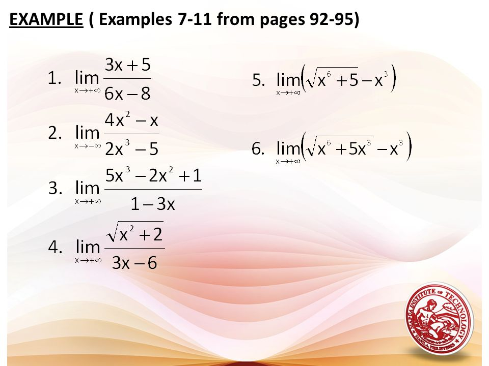 EXAMPLE ( Examples 7-11 from pages 92-95)