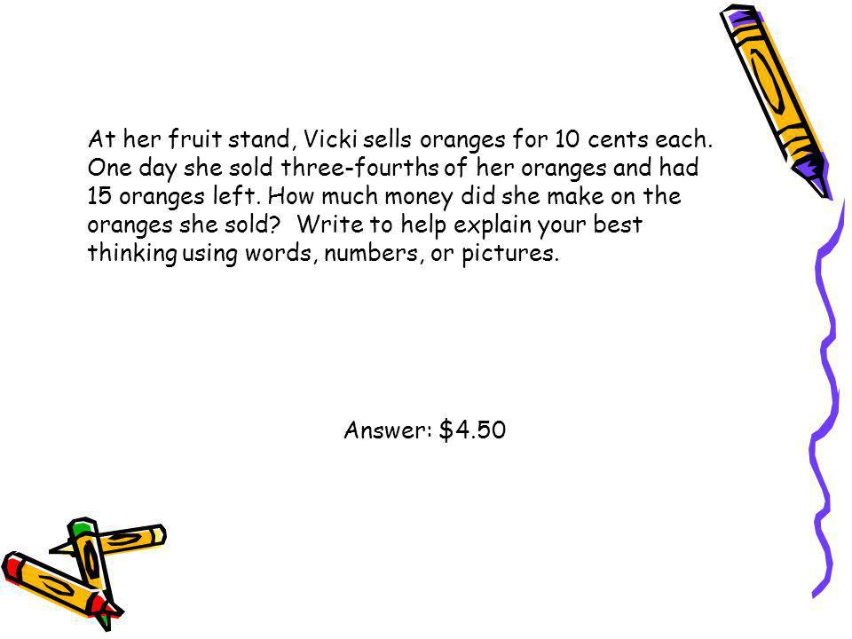 At her fruit stand, Vicki sells oranges for 10 cents each