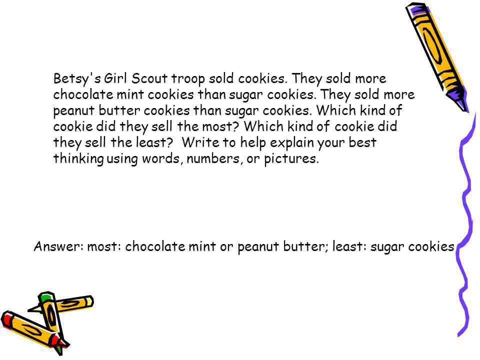 Betsy s Girl Scout troop sold cookies