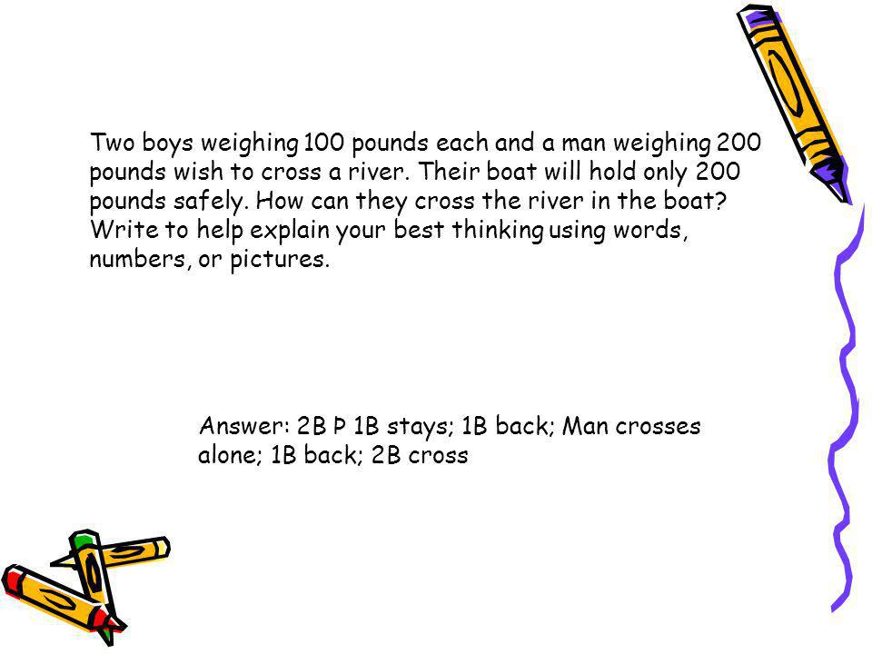 Two boys weighing 100 pounds each and a man weighing 200 pounds wish to cross a river. Their boat will hold only 200 pounds safely. How can they cross the river in the boat Write to help explain your best thinking using words, numbers, or pictures.