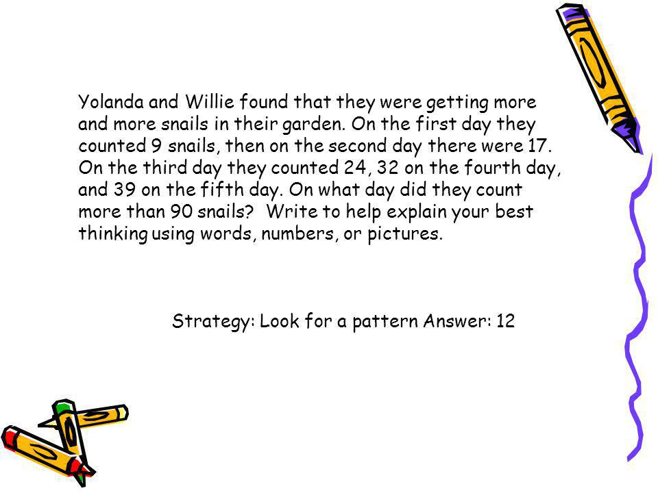 Yolanda and Willie found that they were getting more and more snails in their garden. On the first day they counted 9 snails, then on the second day there were 17. On the third day they counted 24, 32 on the fourth day,