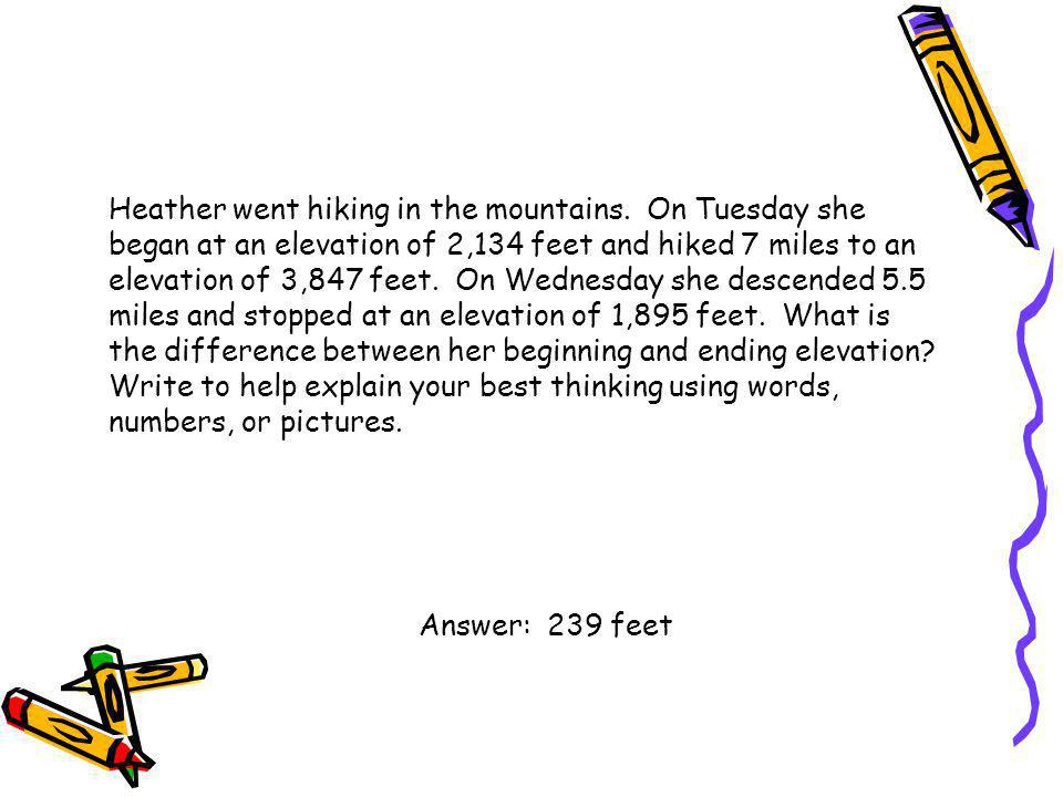 Heather went hiking in the mountains