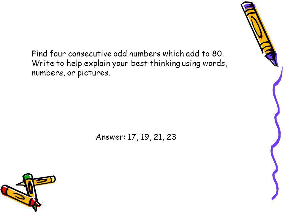 Find four consecutive odd numbers which add to 80