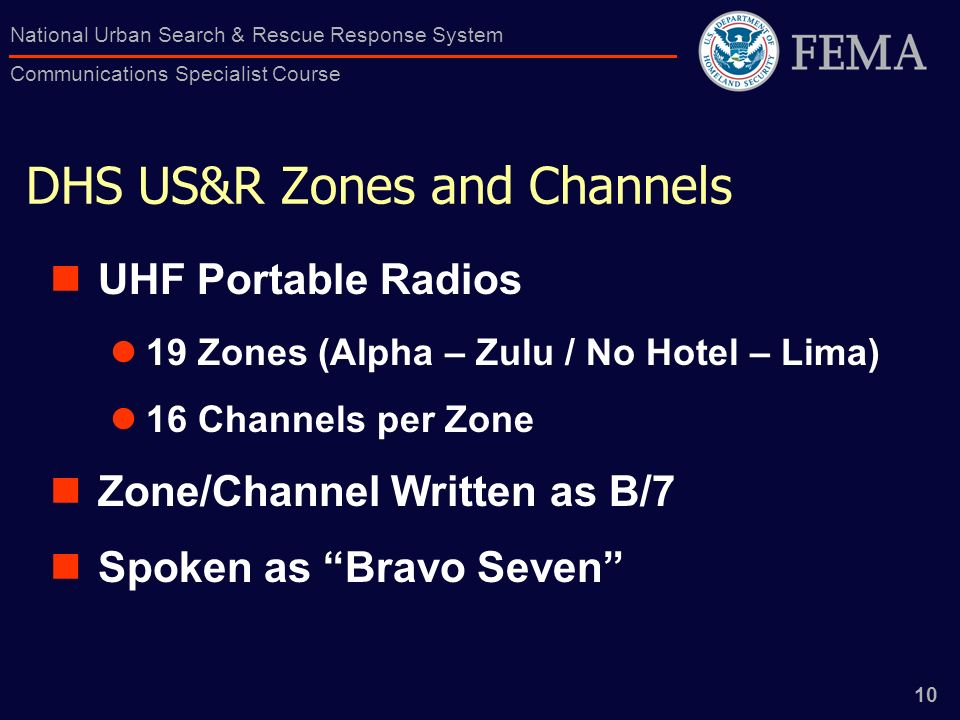 DHS US&R Zones and Channels