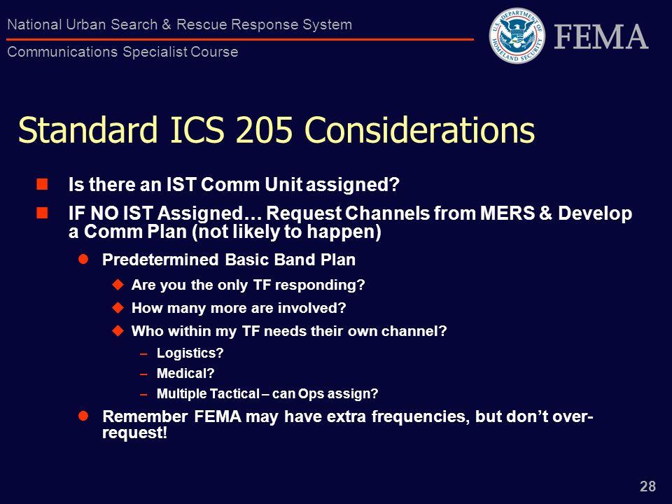 Standard ICS 205 Considerations