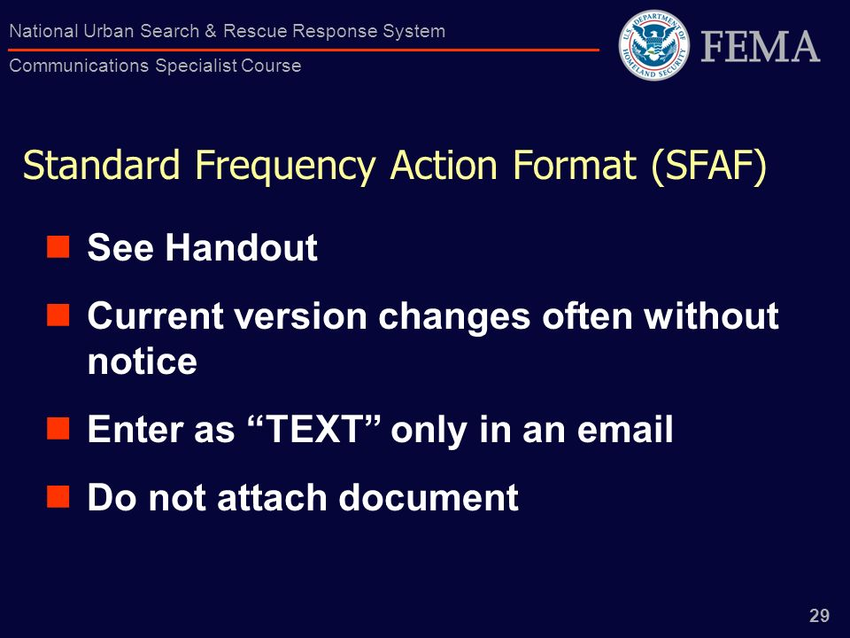Standard Frequency Action Format (SFAF)