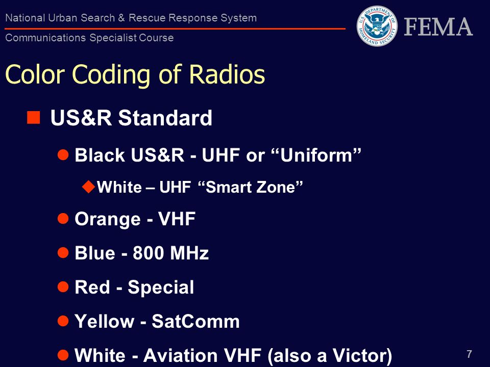 Color Coding of Radios US&R Standard Black US&R - UHF or Uniform