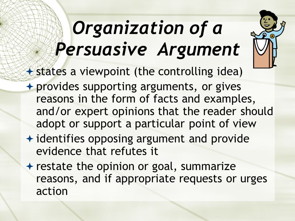 Organization of a Persuasive Argument
