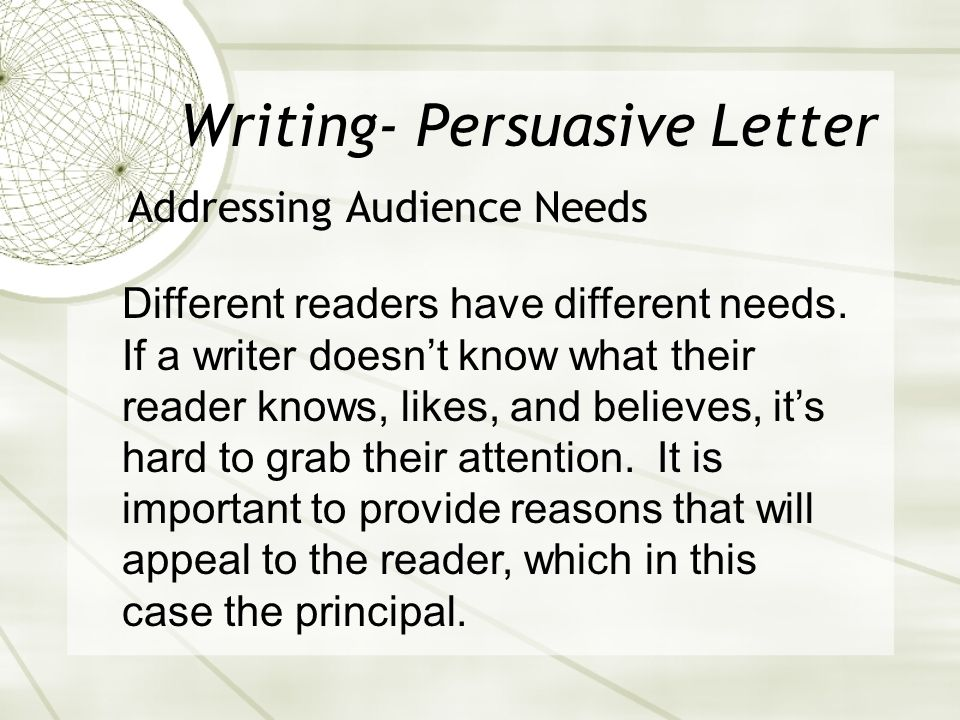 Writing- Persuasive Letter