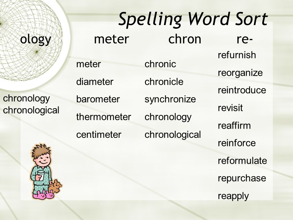 Spelling Word Sort ology meter chron re- refurnish reorganize