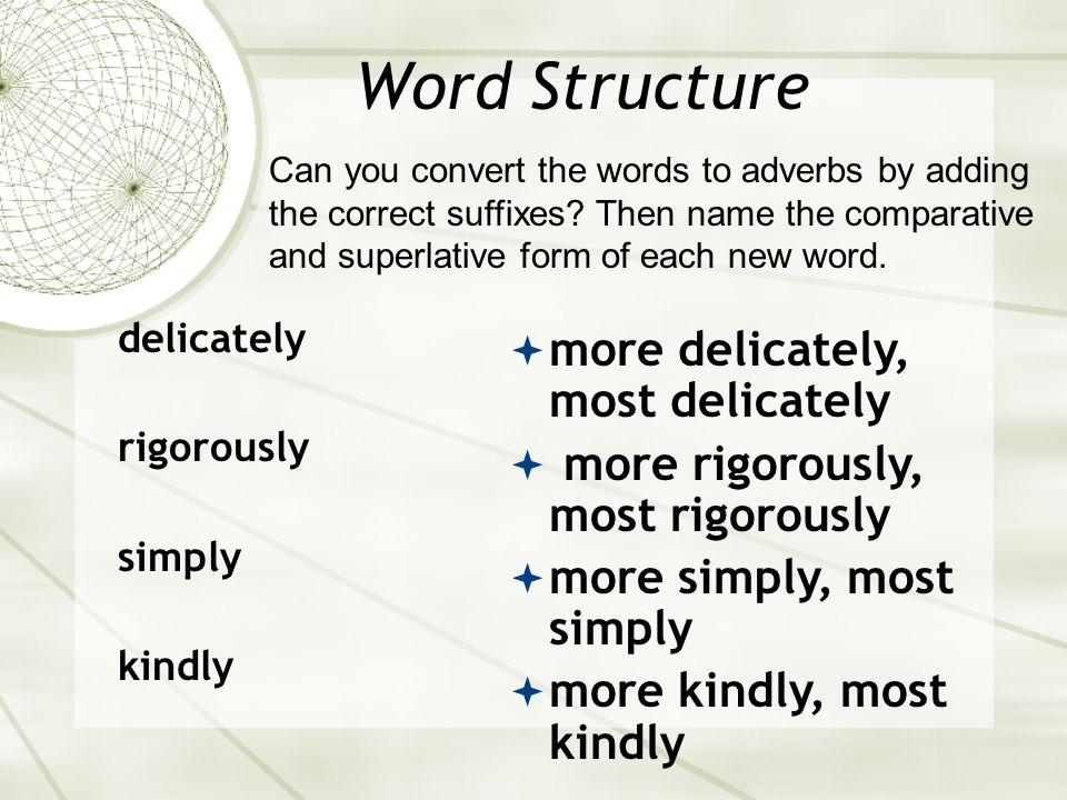 Word Structure more delicately, most delicately