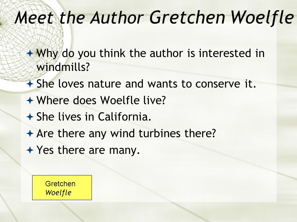 Meet the Author Gretchen Woelfle