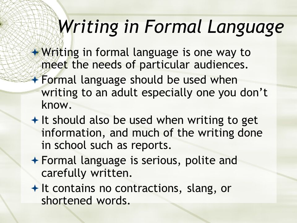 Writing in Formal Language