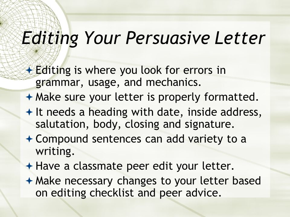Editing Your Persuasive Letter
