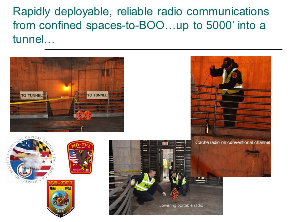 Rapidly deployable, reliable radio communications from confined spaces-to-BOO…up to 5000' into a tunnel…
