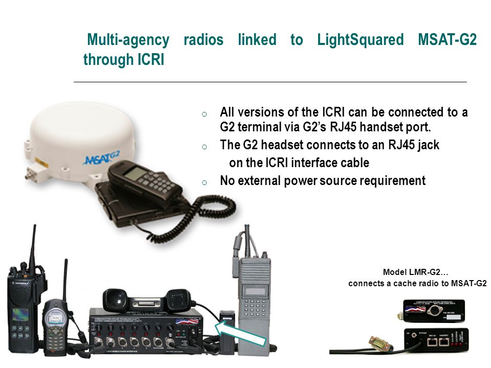 Multi-agency radios linked to LightSquared MSAT-G2 through ICRI
