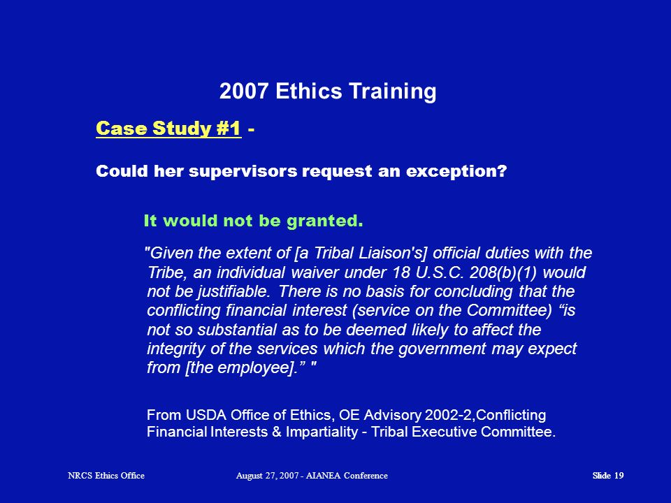 2007 Ethics Training Case Study #1 -