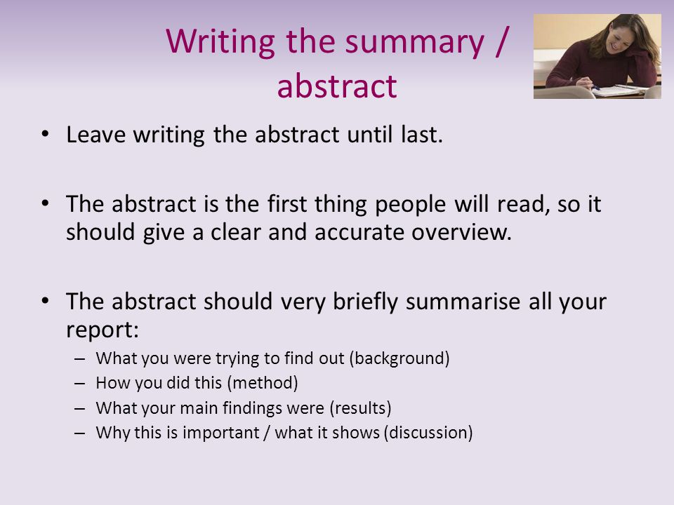 Writing the summary / abstract